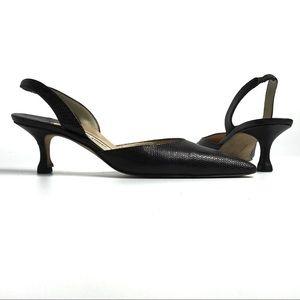Manolo Blahnik Brown Kitten Heel Slingback Shoes